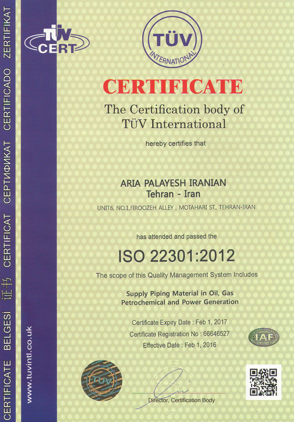 ISO 22301: 2012 Certificate